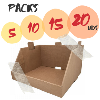 Varios packs caja cartón expositor apilable canal simple. Cajas de carton para almacenamiento ropa, envíos desde España.Cajeando