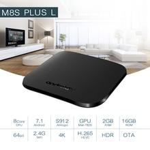 Mecool M8S PLUS L DDR3 2GB 16GB 2.4G WiFi Amlogic S912 H.265 HDR 10 Android Box Google Play Miracast TV BOX