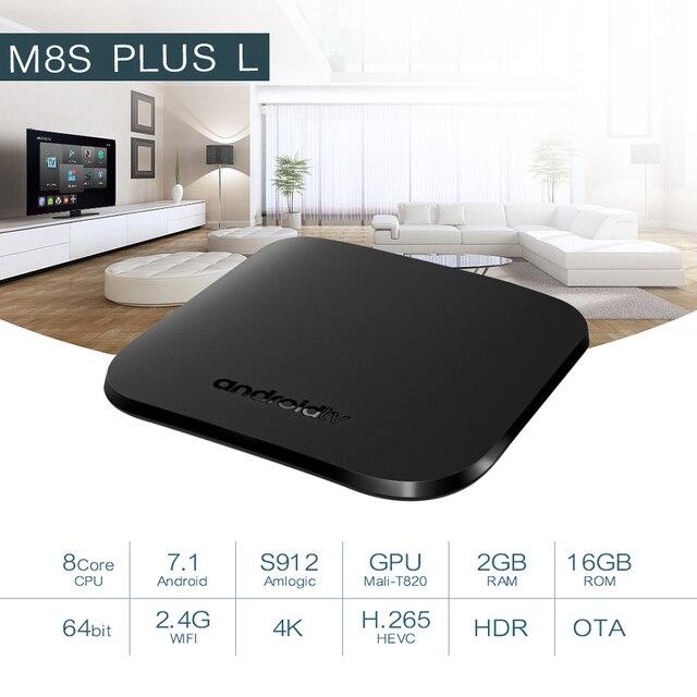 Mecool M8S PLUS L DDR3 GB RAM 16GB 2.4G WiFi Amlogic S912 H.265 HDR 10 Android Box Google chơi Miracast TV BOX