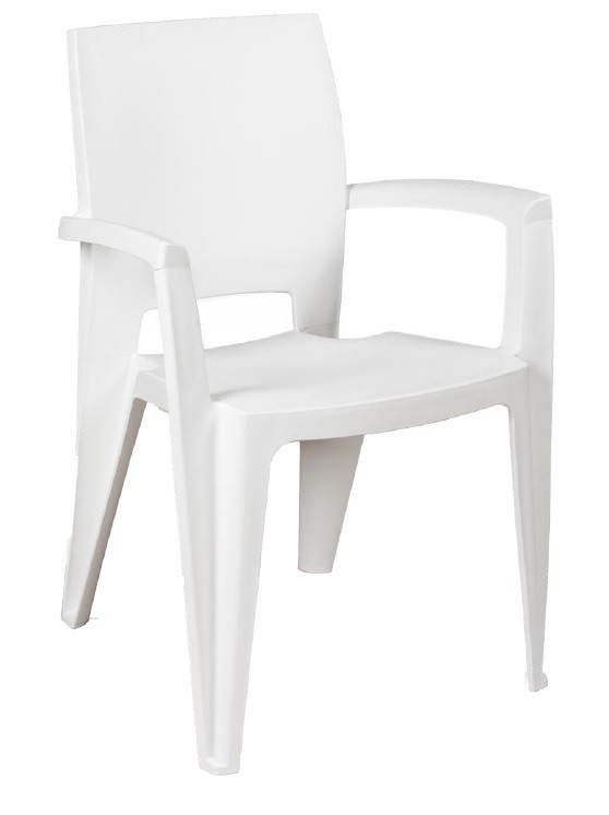 Armchair ELEN, Stackable, White Polypropylene
