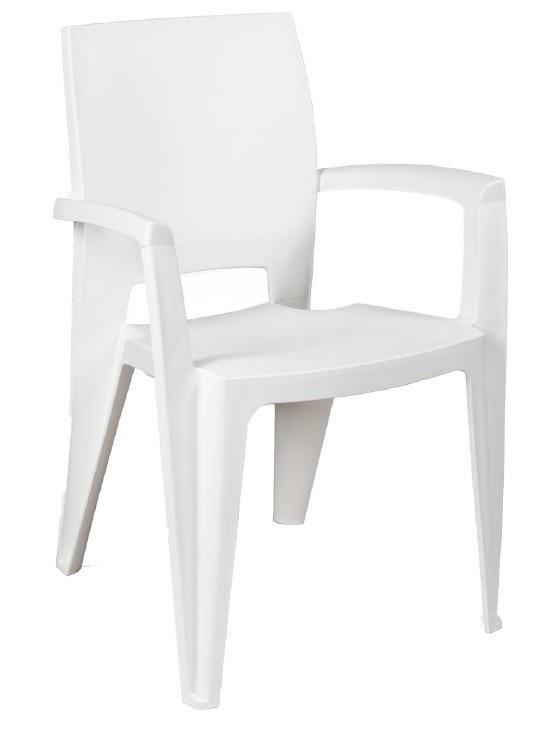 Armchair ELEN, Stackable, White Polypropylene