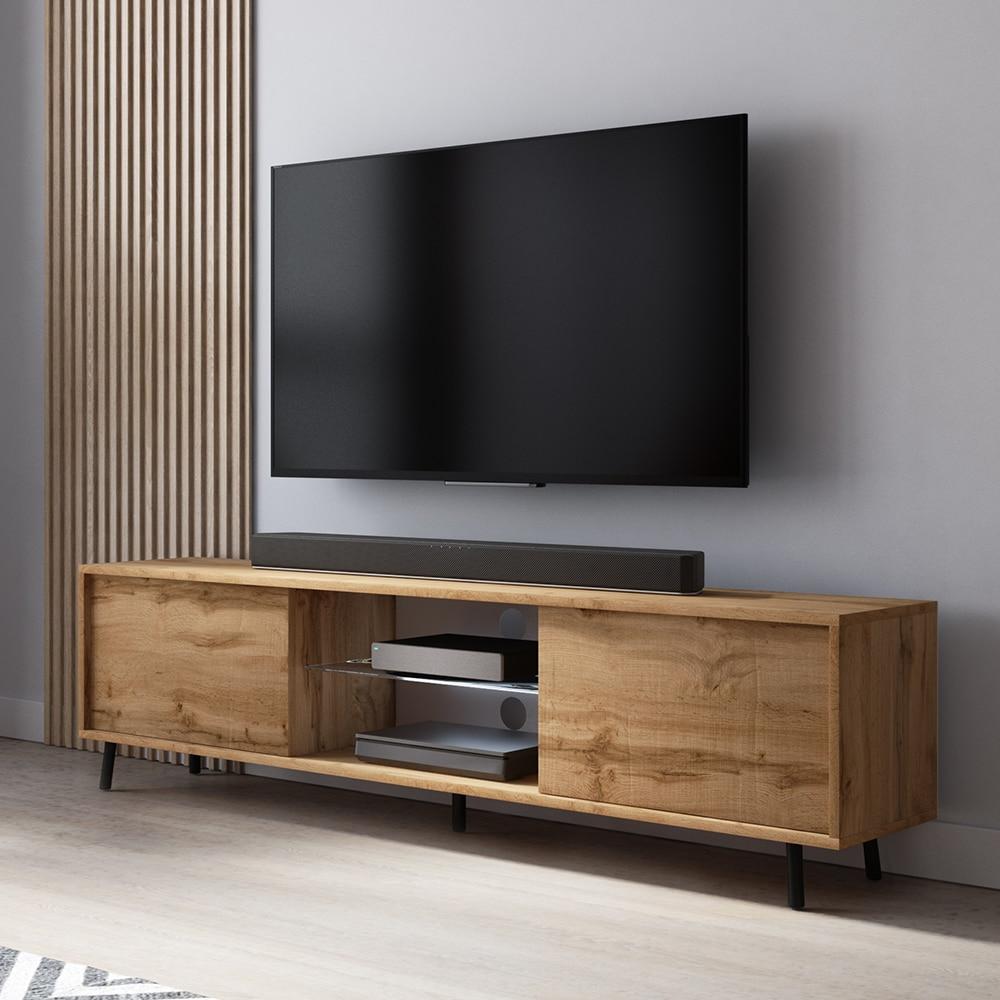LEFYR - Meuble tv / Banc tv chêne wotan, 140 cm, éclairage LED