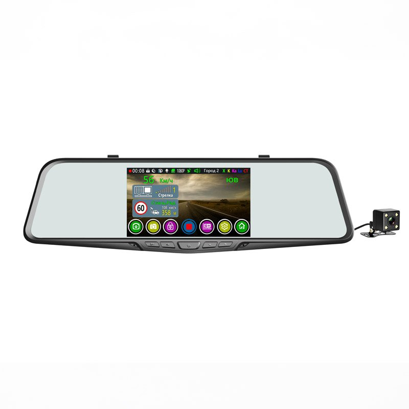 Автомобильный видеорегистратор-зеркало с радар-детектором gps и 2-я камерами Eplutus GR-51 Комбо