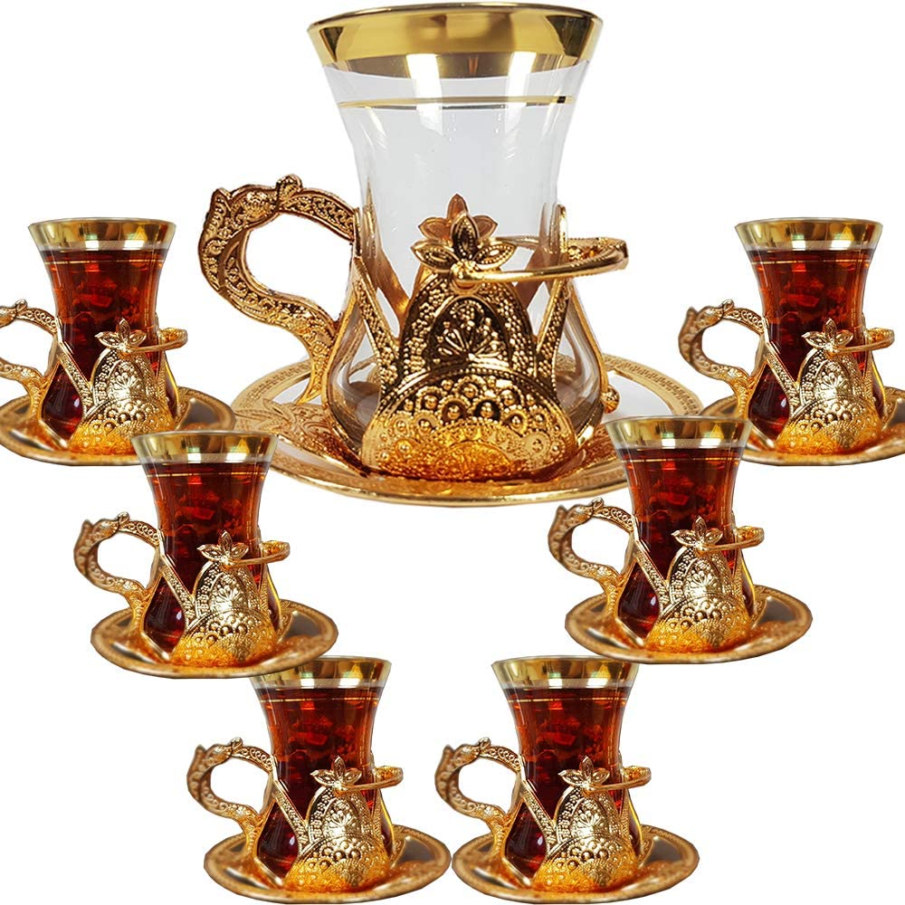 WONDERFUL GORGEOUS Glass Turkish Tea Cups Set of 6 and Saucers with Handle Arabic Ottoman Decors for serving and drinking housew
