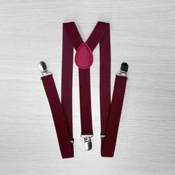Pants suspenders narrow (2.5 cm, 3 clips, Cherry) 54164