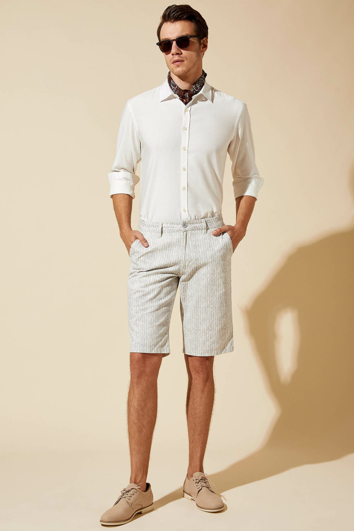 DeFacto Man Summer Light Color Casual Shorts Men Straight Bottom Shorts Male Mid-waist Bermuda-L6044AZ19SM