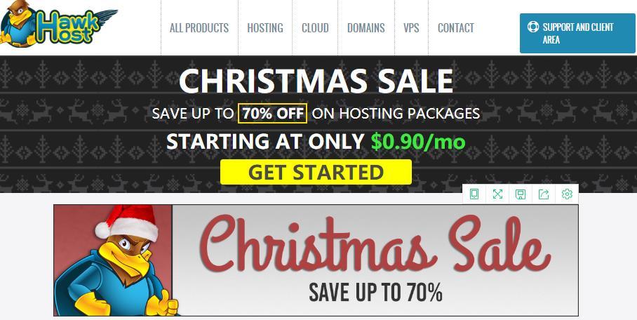 HawkHost(老鹰主机)圣诞节优惠:虚拟主机3折起最低年付75元-VPS SO