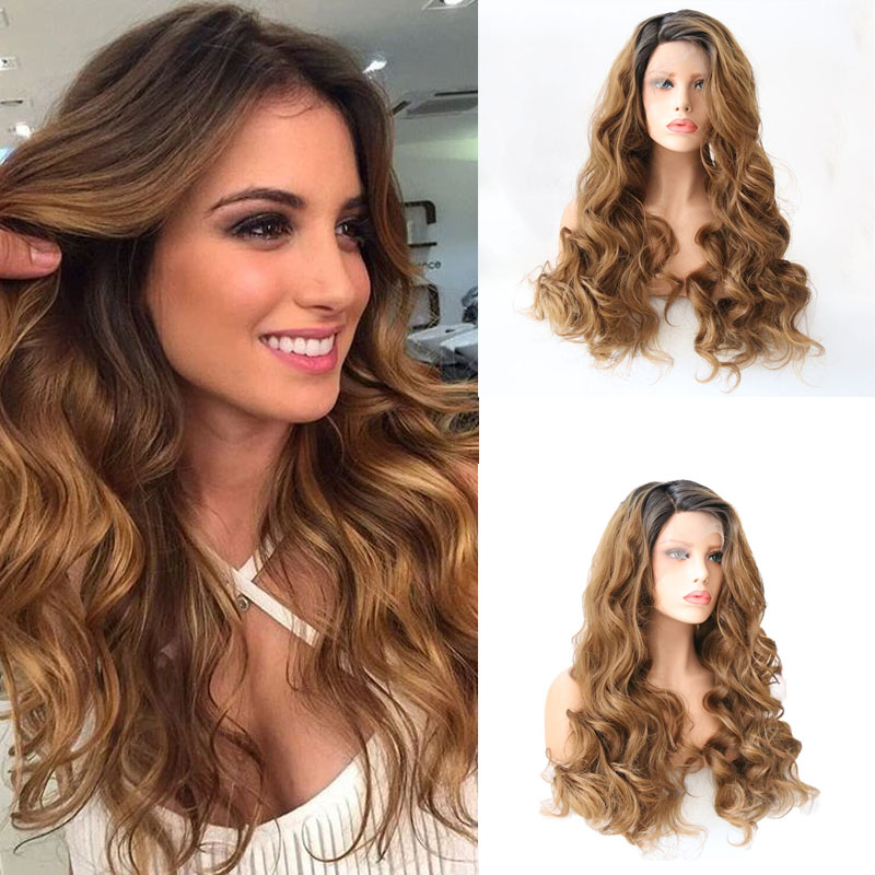 Charisma Brown Ombre Wavy Long Hair Synthetic Lace Front Wig Heat Resistant Fiber For Black Women Honey Blonde Wigs Cosplay Game
