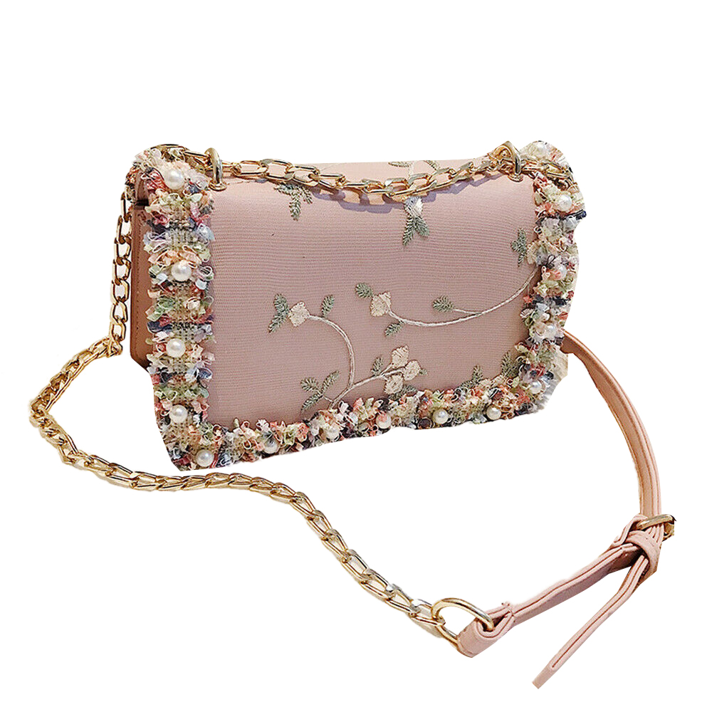 Crossbody-Bag Chain Crochet Embroidery Hand Pearl Fashion Women's Casual