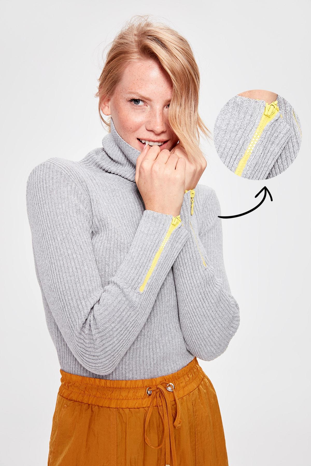 Trendyol Gray Handle Zipper Knitwear Sweater TWOAW20KZ0331