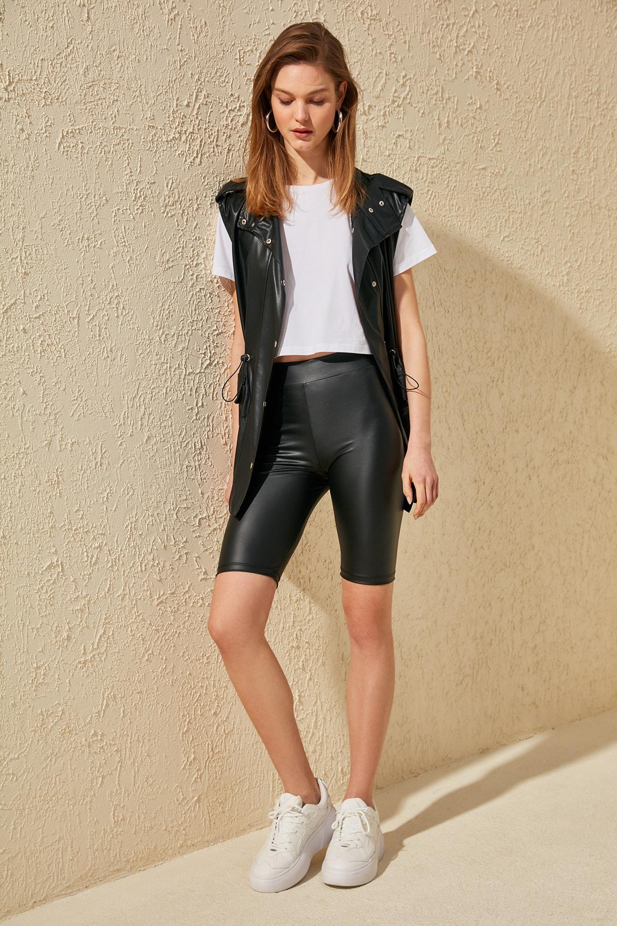 Trendyol Leather Look Biker Knitted Leggings TWOSS20TA0116