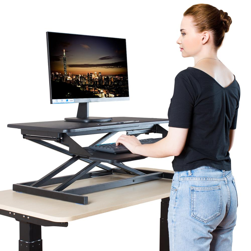 Standing Desk Height Adjustable Sit To Stand Computer Desk Dual Monitor Table Stand Up Workstation With Keyboard Tray