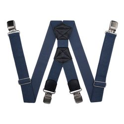 Suspenders for large size trousers (4 cm, 4 clips, gray-blue) 55122