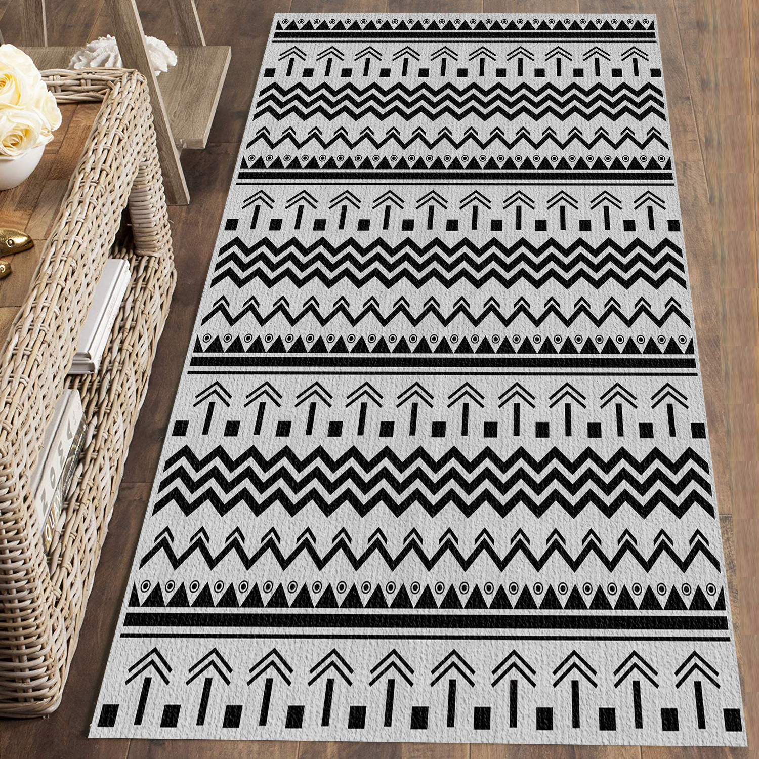 Else Gray Black Authentic Vintage Morrocan 3d Print Non Slip Microfiber Washable Runner Mats Floor Mat Rugs Hallway Carpets
