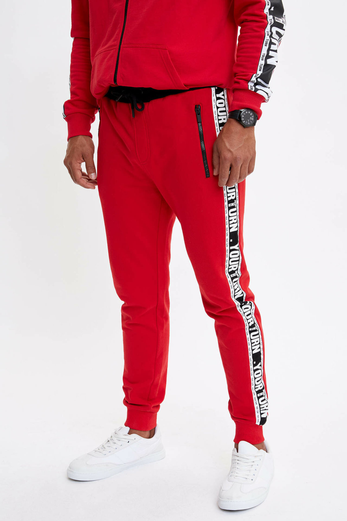 DeFacto Fashion Men's Sport Sweatpants Men's Red Casual Drawstring Long Pants Male Leisure Bottoms New- L1454AZ19AU