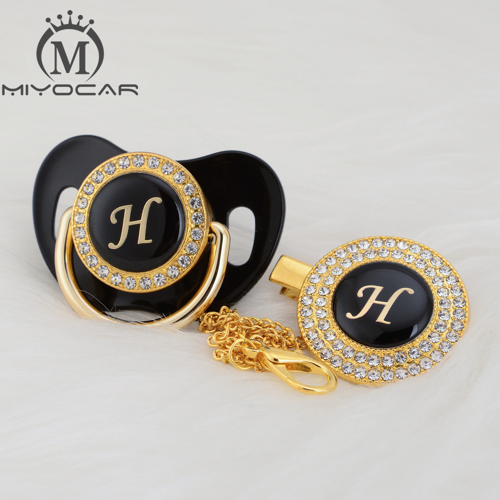 MIYOCAR Initials Letter H Beautiful Bling Pacifier And Pacifier Clip Set Unique BPA Free Dummy Bling Unique Design LH