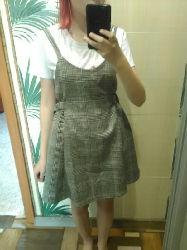 Women'S Loose Dresses Japanese Harajuku Ulzzang Punk Casual Plaid Strap Dress Female Korean Kawaii Cute Clothing For Women photo review