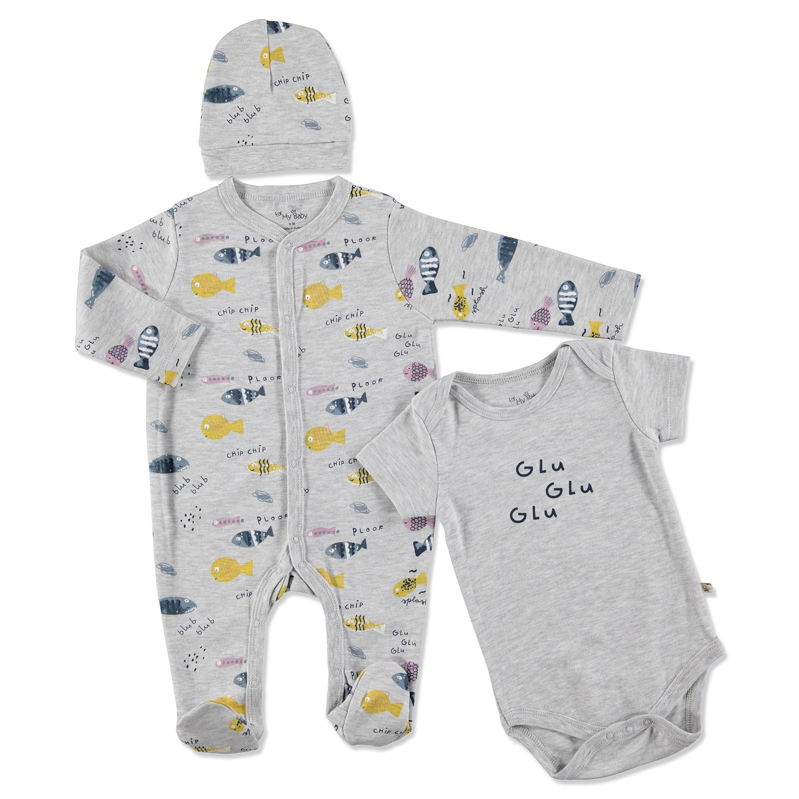 Ebebek For My Baby Summer Boy Fish Romper Bodysuit Hat 3 Pcs Set