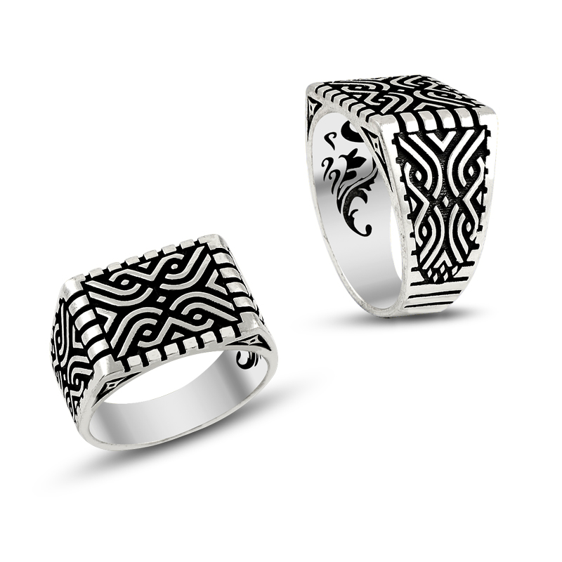 Original Hot Rings Antique Pattern Silver Color Men Ring Vintage Jewelry 925 Silver Classic Design Dirilis Ertugrul Rings(Turkey)