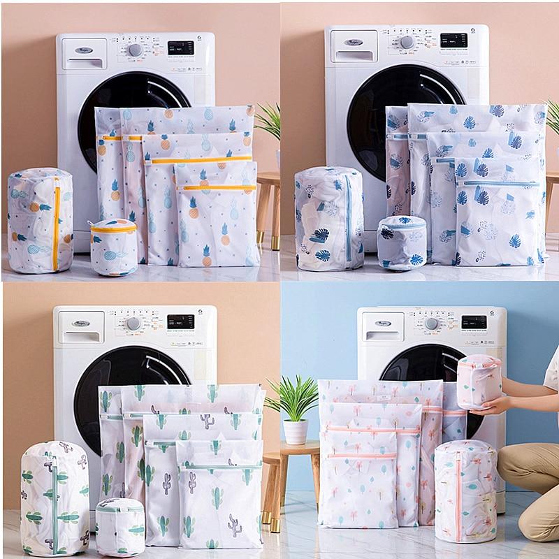 1 Set Zipper Mesh Laundry Bag Washing Machine Dedicated Dirty Wash Bag Underwear Sock Bra Laundry Basket Multi-size Washing Kits