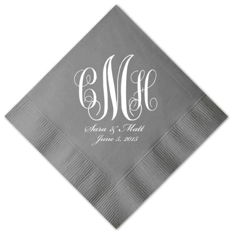 Personalized Traditional Classy Classic Monogram Beverage Cocktail Luncheon Guest Towel Dinner Napkins Custom Wedding Home 3 ply