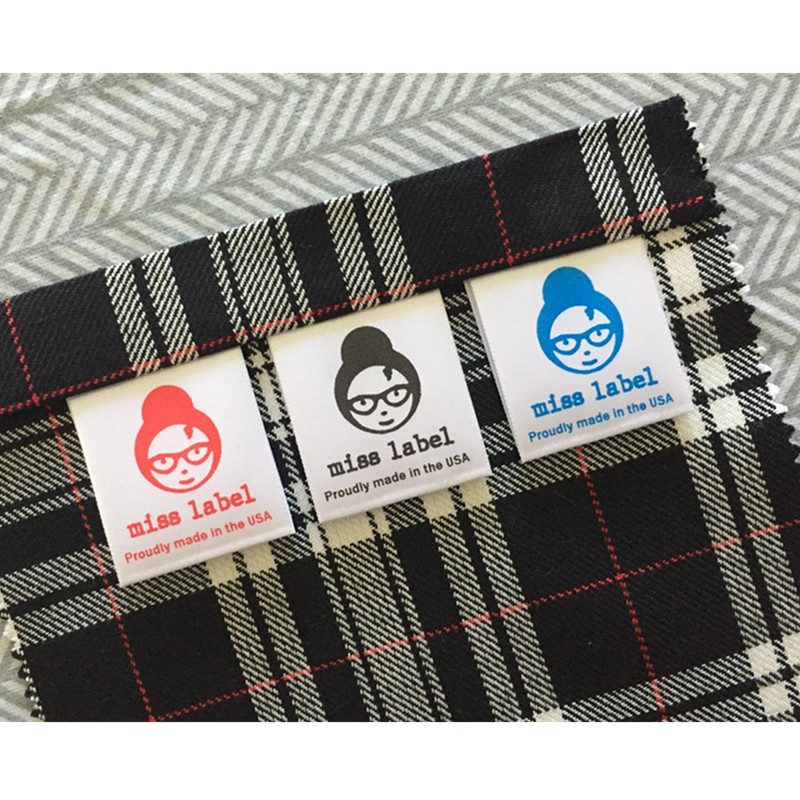 300 Customize Satin printing brand care Tags Sew-in fabric clothing labels with wash instruction Handmade Garment washing Label