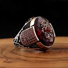 Bague en argent Sterling 925 véritable pour hommes, bijoux en pierre de Zircon naturel rouge, cadeau Vintage à la mode, Aqeq Onyx, accessoires pour hommes, toutes tailles