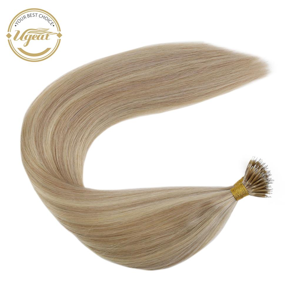 Fusion Keratin Bond Hair Extensions 14-24 Inch Nano Ring Hair Straight Brazilian Hair Micro Bead Extensions Non-Remy Hair 50G