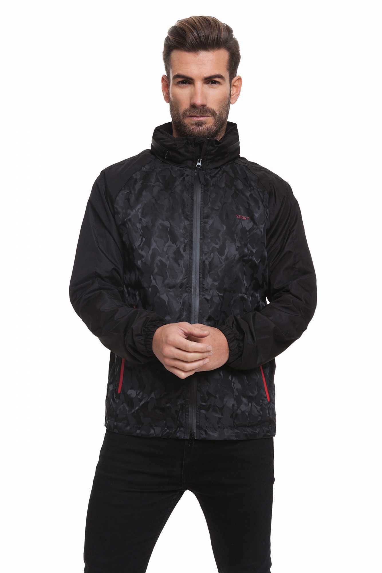 Born Rich Jacket For Men FABREGAS With Hoodie And Black Color Zipper Length Causal BR2K111097AA2BRC-1