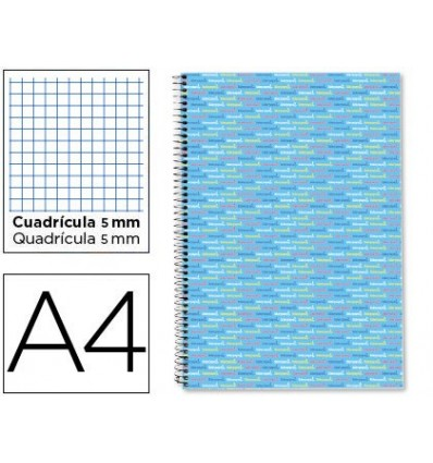 SPIRAL NOTEBOOK LEADERPAPER A4 MICRO MULTILIDER LINED TOP 140H 80GSM TABLE 5MM 5 BANDS 4 DRILLS CELESTE