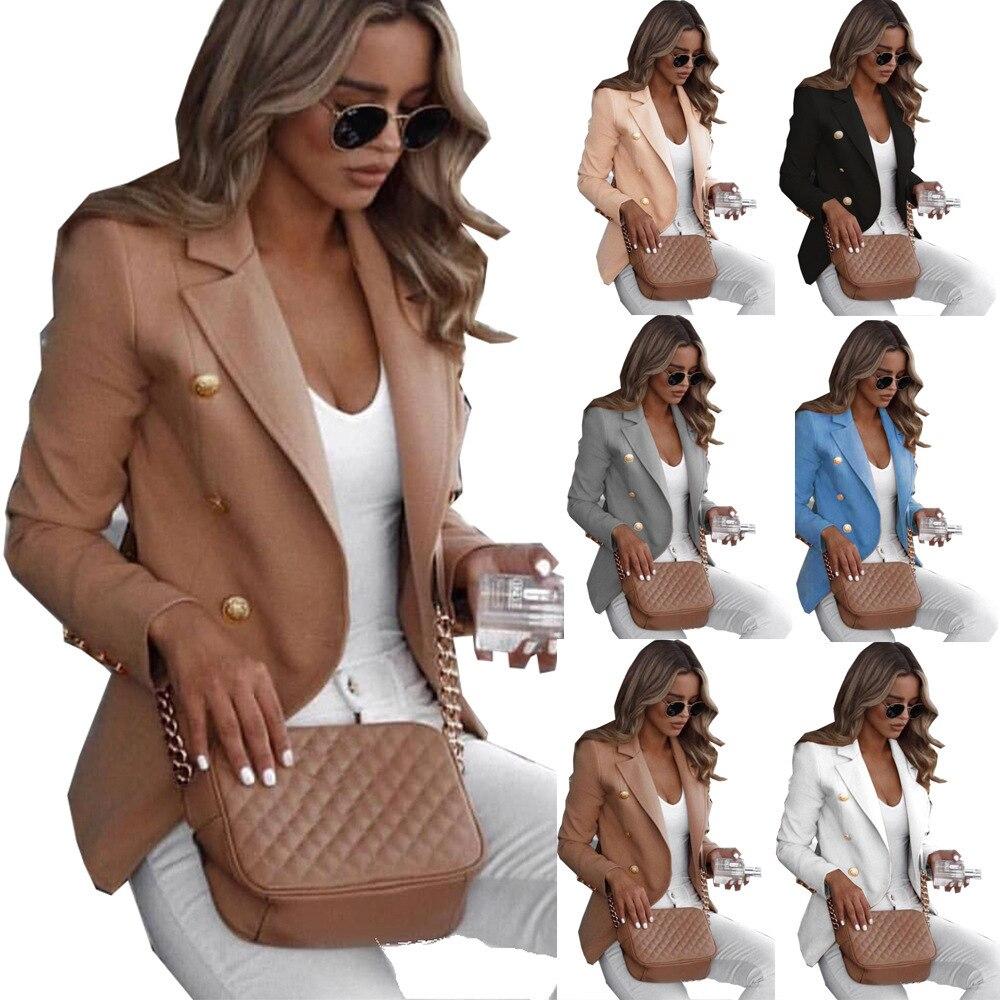 Women Blazers Coat 2020 Autumn Winter Office Lady Solid Long Sleeve Suit Coat Female Elegant Fashion Slim Blazer Outerwear Women