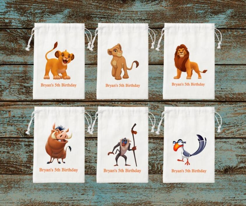 Personalisieren Simba Lion King Kinder Geburtstag favor Taschen-Nala Lion King Fertigen jede text Favor Taschen-Lion King nach Goodie Ba