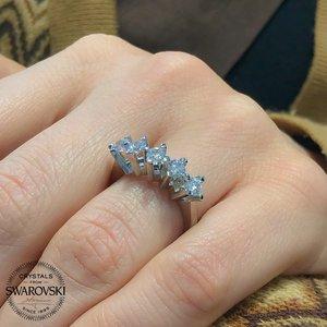Novo original swarovski dibs princesa pétalas anel de prata esterlina