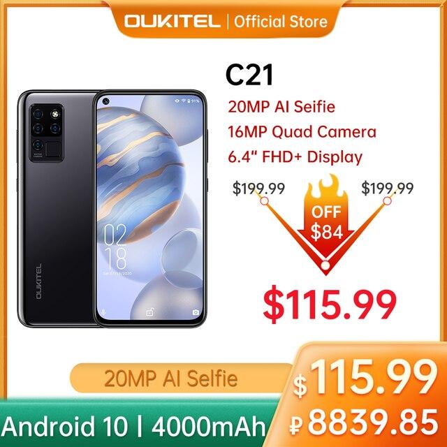 OUKITEL 4G C21 Smartphone Octa Core 4G+64GB 4000mAh Mobile Phone Selfie 6.4'' FHD+ Hole Punch Screen 20MP Quad Camera Phone 1