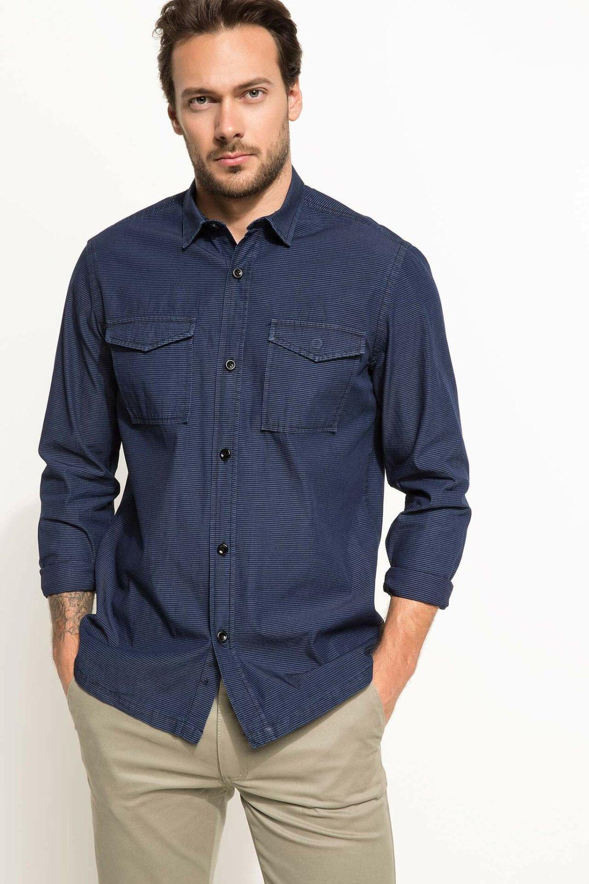 DeFacto Men Spring Navy Blue Top Shirts Man Smart Casual Shirts Male Autumn Long Sleeve Business Shirt-I0558AZ18SP