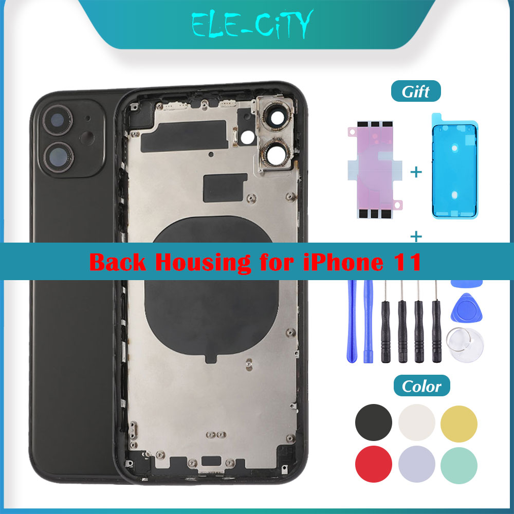 OEM Back Cover Housing For IPhone 11 Back Middle Frame Chassis Rear With Glass Battery Cover Full Assembly ''LOGO'' Free Gift