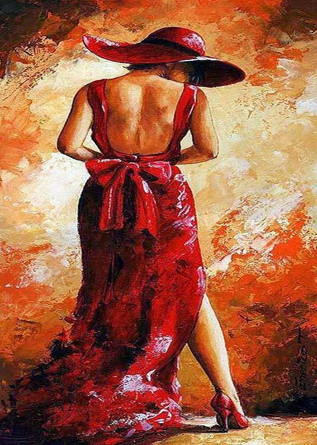 Picture By Numbers Woman In Red, 40x50 Cm