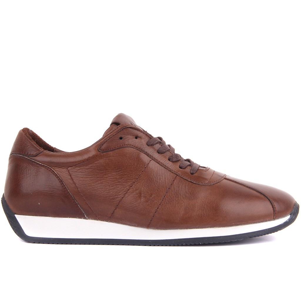 Sail Lakers-Genuine Leather Men's Casual Shoes Brown Black