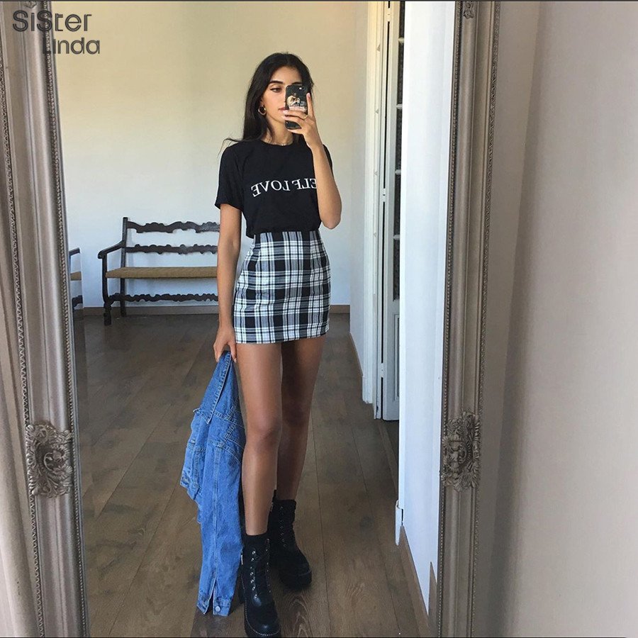 Sisterlinda Vintage Plaid Mini Skirt Womens High Waist Mini Skirt Fashion Office Lady Party Side Zipper Skirts Mujer 2020 New