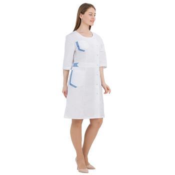 Female medical robe ivuniforma Inter white with blue inserts female medical robe ivuniforma olesya white with лиловыми inserts