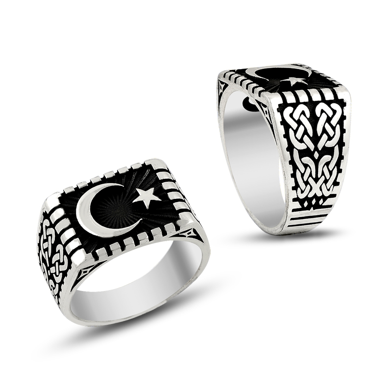 925 Silver National English Flag Printed Rins for Men