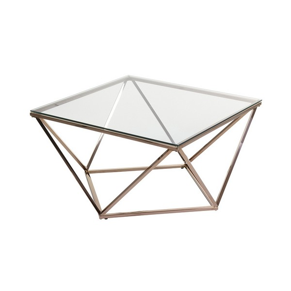 Side Table Stainless Steel Glass (80 X 80 X 45 Cm)