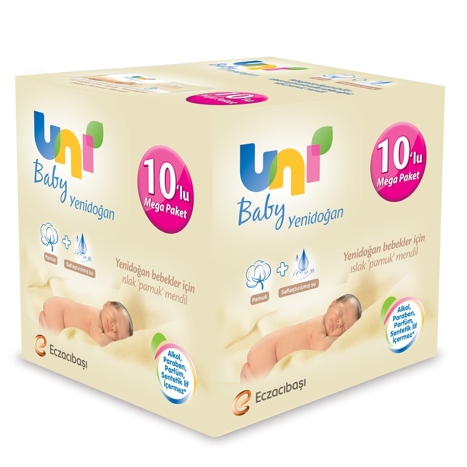 Ebebek Uni Baby Newborn Wet Cotton Wipes Mega Value Package 10x40 Pcs