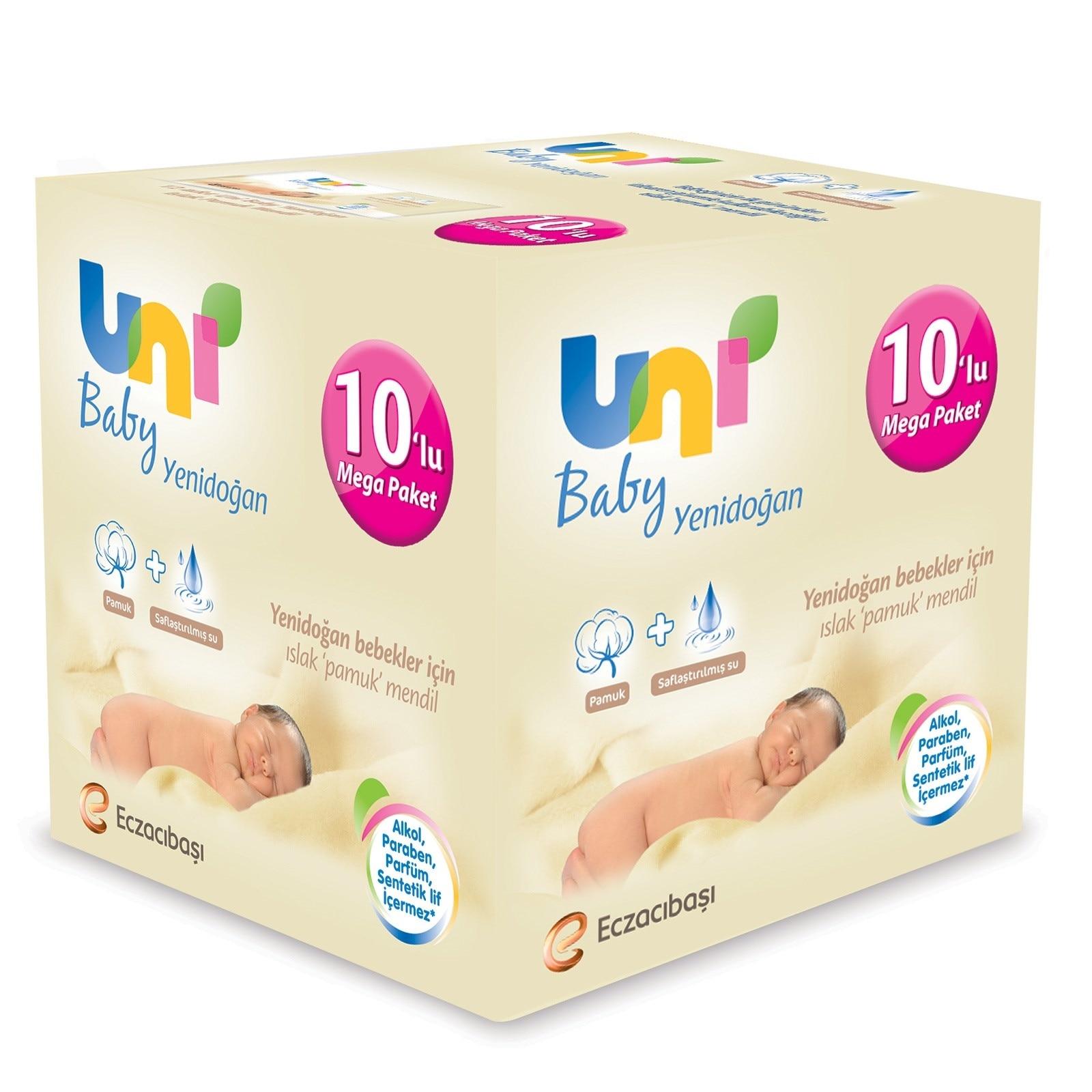 Ebebek Uni Baby Newborn Wet Cotton Wipes Mega Value Package 10x40 Pcs