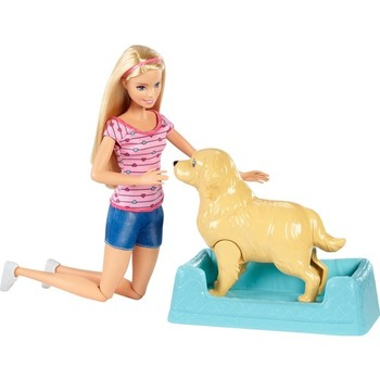 Barbie Doll Mother Dog and Newborn Puppy Play Set FDD43 fashion girl child baby toys children are for birthday gift
