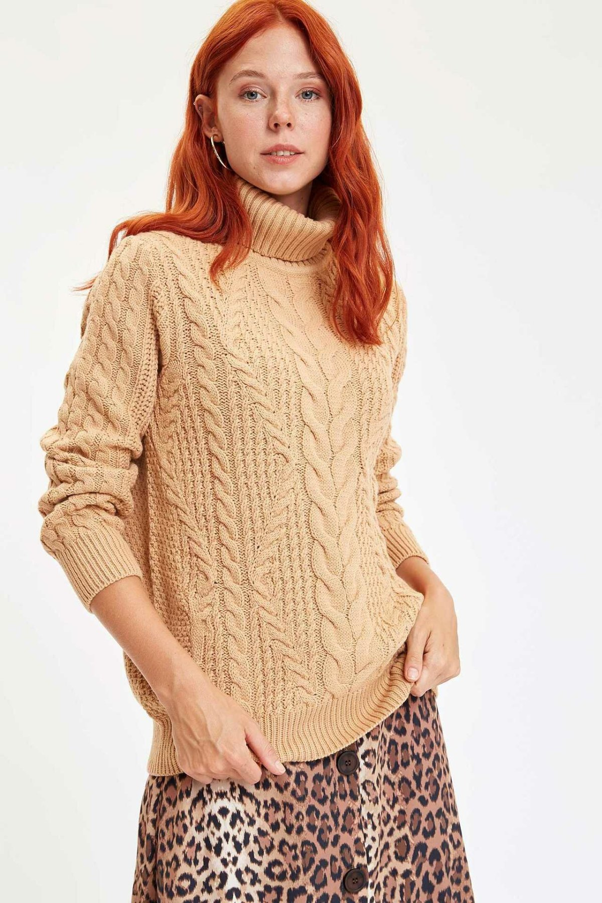 DeFacto New Women Solid Fashion Turn-down Collar Knitted Sweatshirt Casual Loose Pullover Female Autumn  - L7319AZ19WN