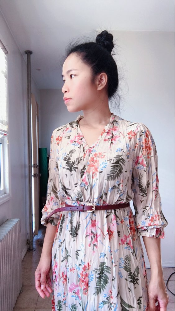 Temperament Dress Women Korean Style Casual Date Wear New Year Cute Slim Waist Floral Printed Chiffon Vintage Dress Long photo review
