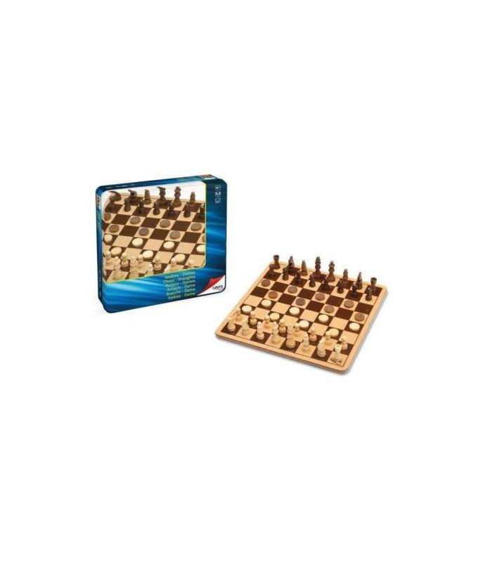 GAME CHESS And CHECKERS WOODEN BOXED METAL Toy Store