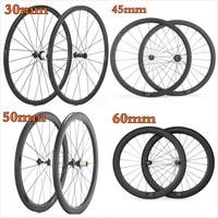 Factory Sales 700C Carbon Wheelset Tubular 30mm 45mm 38mm 50mm 60mm Bicycle Rims Wheels Clincher Road Bike Wheels Basalt Braking