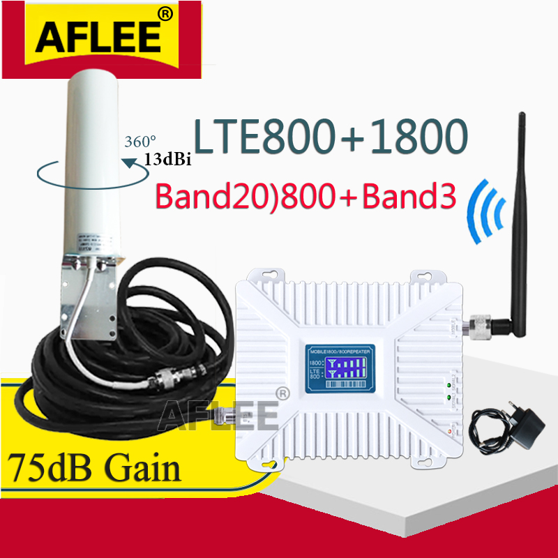 B20 800 1800 2100 2600mhz Repeater GSM 2G 3G 4G Dual-Band Cell Phone Cellular Amplifier DCS WCDMA LTE 4G Mobile Signal Booster